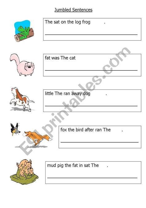 english worksheets easy jumbled sentences