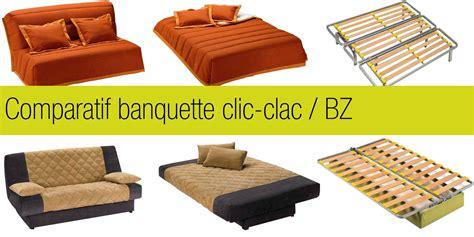 canapé clic clac 2 places comparatif banquette clic clac et bz