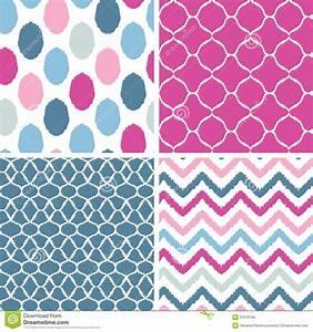 Set Of Blue And Pink Ikat Geometric Seamless Royalty Free
