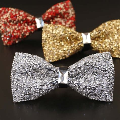 1pcs New Bow Tie Crystal Bling Butterfly Knot For Men