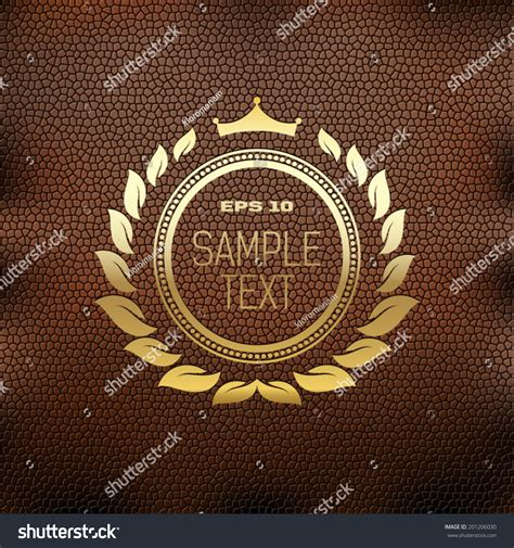 golden coat arms crown  leaves stock vector