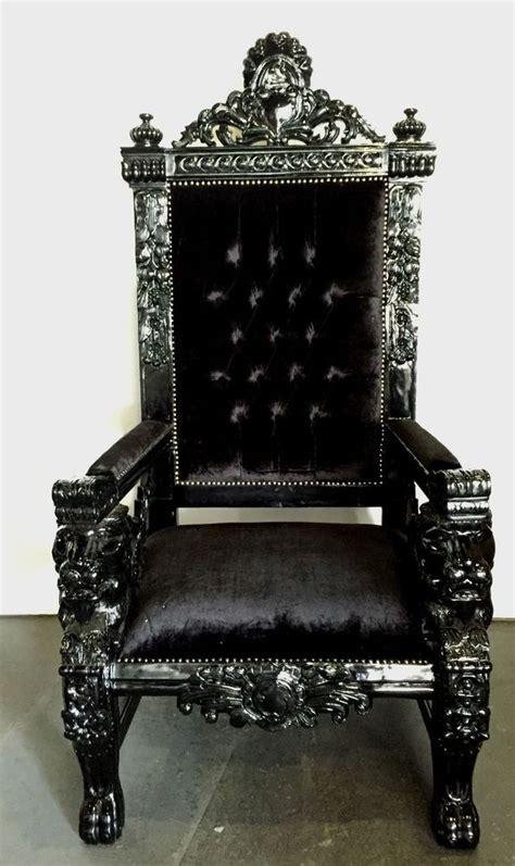 hollywood regency rococo black xl lion head king chair gothic queen throne handmade