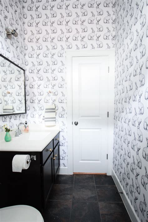 jackalope wallpaper bathroom diy smooth textured walls