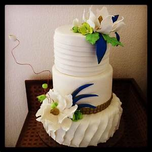 Lime Green And Royal Blue Wedding Cake - CakeCentral.com