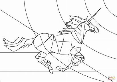 Unicorn Stained Coloring Glass Pages Printable Puzzle