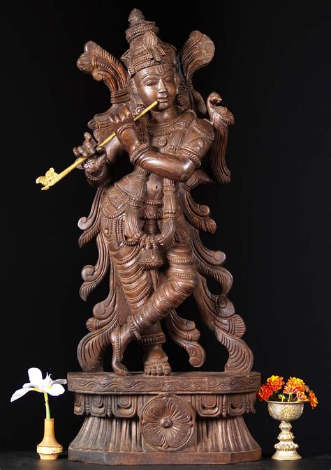 sold wooden gopal krishna statue  parrot  wct