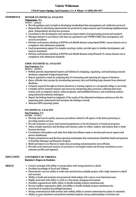 Resume Statistics by Statistical Analyst Resume Sles Velvet