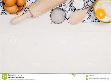 Baking Cake Or Pizza Ingredients Top View On Wooden