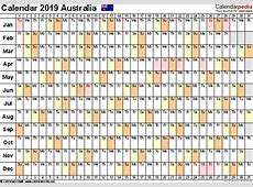 Australia Calendar 2019 Free Word Calendar Templates
