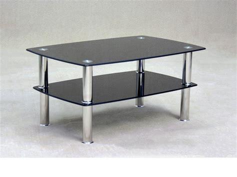 Black Glass Coffee Table With Storage Shelf