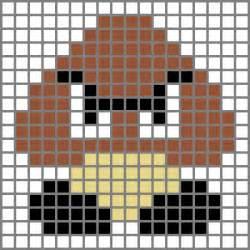 Mario Goomba Pixel Art Grid