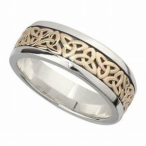irish wedding band 10k gold and sterling silver mens With mens irish wedding ring