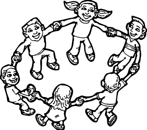 children playing children coloring page wecoloringpagecom