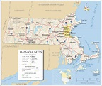Map of the Commonwealth of Massachusetts, USA - Nations ...