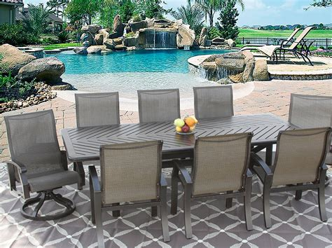 8 person patio table barbados sling outdoor patio 9pc dining set for 8 person