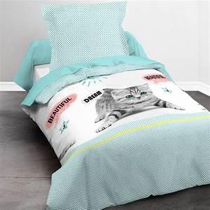 Parure De Lit Bleu : parure de lit 1 personne imprim chat linge de lit bleu kiabi 20 00 ~ Teatrodelosmanantiales.com Idées de Décoration