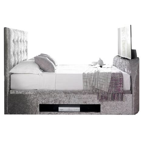 Ottoman Tv Bed by Kaydian Barnard Ottoman Tv Bed Crushed Velvet Silver Tv
