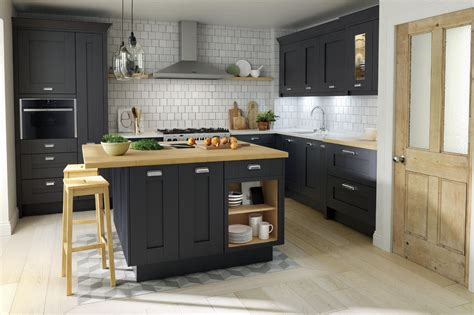 oak kitchen island units shaker milbourne door in a bold charcoal