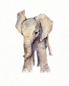 Watercolor Painting, elephant art prints, watercolor art ...