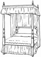Bed Clipart Bedroom Canopy Clip Coloring Colouring Poster Four Furniture Household Cliparts Library Transparent Wpclipart Double Gclipart Terms Sketch Template sketch template
