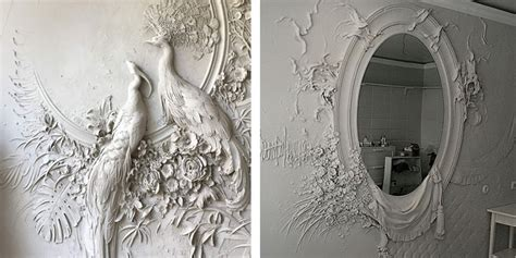 basrelief sculpture work  russian artist transforms