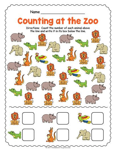at the zoo counting worksheet