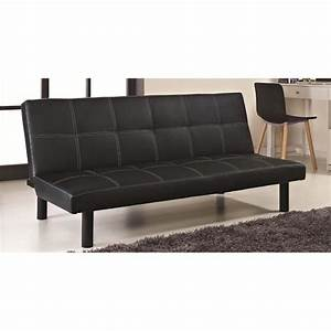 Clic clac noir design en simili cuir achat vente bz for Tapis persan avec canape cuir clic clac