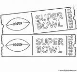 Coloring Bowl Super Tickets Game Pages Ticket Template Sheets Golden Activity Football Print Nfl Activities sketch template