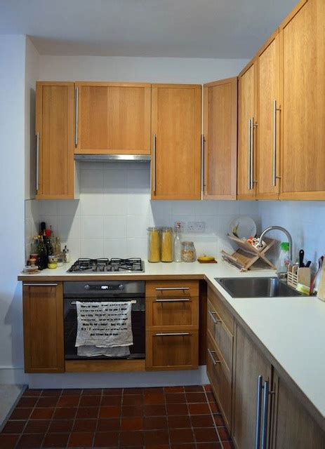 Ulriksdal Oak Cabinets, White Counters  Discontinued