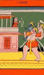 Indian Epics: Images and PDE Epics: Image: Hanuman Carries ...