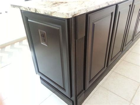 cabinet finished end panels from builders grade golden oak cabinets to a kitchen with