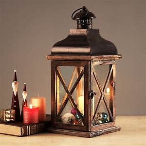 Classic Glass Wooden Retro Lantern Windproof Table Candle ...