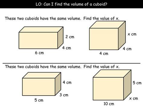 volume of a cuboid grade d by arthompson1987 teaching