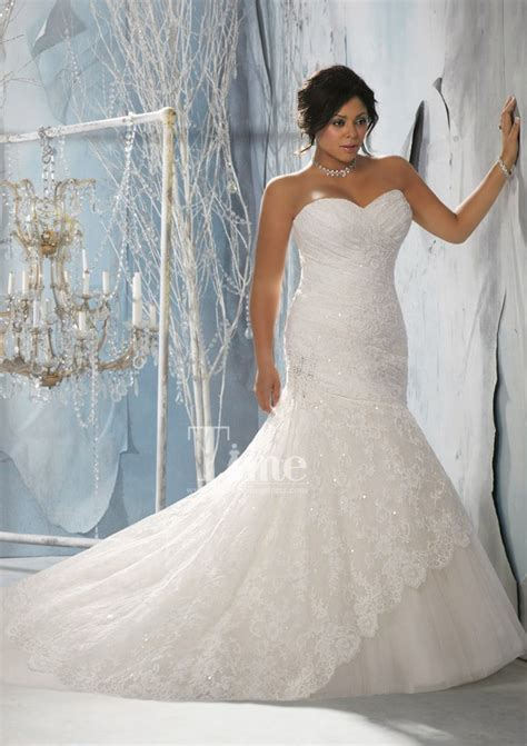 Unique Mermaid Sweetheart Plus Size Wedding Dresses 2014