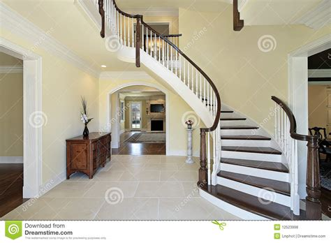 foyer  curved staircase stock photo image  room