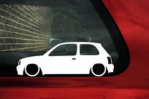 2x Low Nissan Micra K11 Outline Silhouette Stickers Decals