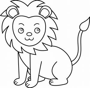 Cute Lion Line Art - Free Clip Art