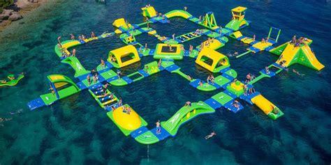 enormous floating aqua park  shark wake park expected