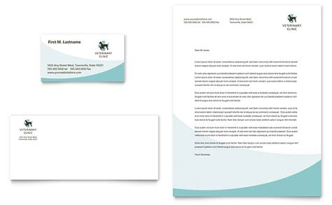 vet clinic business card letterhead template design