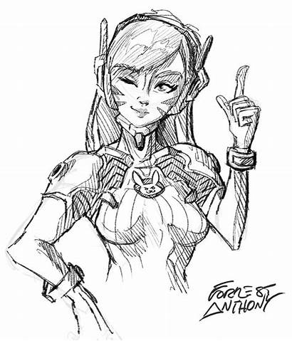 Overwatch Coloring Pages Drawing Character Dva Simple