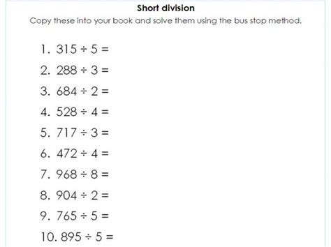 year 5 6 short division using the bus stop method differentiated question sheets by