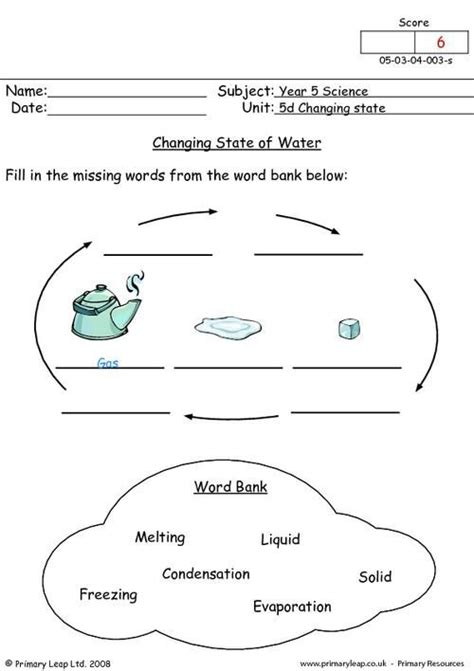 primaryleapcouk changing state  water worksheet