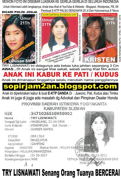 anak hilang penculikan  ktp ganda aspal istri kabur