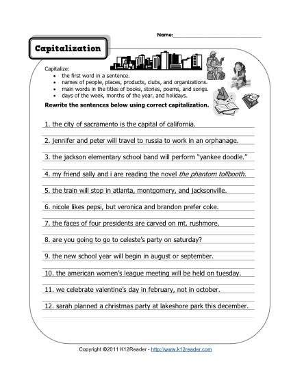 capitalization homeschool grade  punctuation