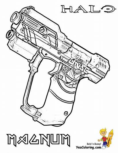 Halo Coloring Pages Magnum Gun Yescoloring Fierce