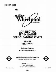Whirlpool Rs675pxv1 Electric Range Parts
