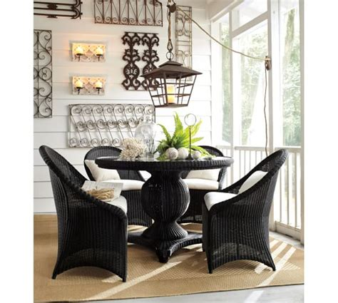 palmetto all weather wicker dining chair black pottery