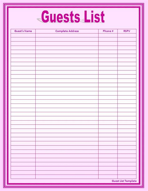 guest list template list templates free word s templates