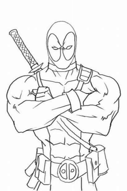 Deadpool Coloring Pages Superhero Drawing Superheroes Avengers
