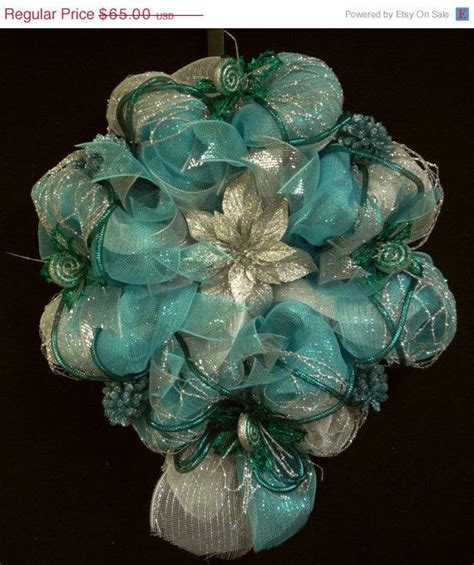 turquoise christmas wreath turquoise silver and white christmas wreath poly mesh deco mesh ge